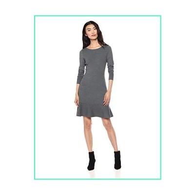 Lark & Ro Women's Long Sleeve Ruffle Skirt Sweater Dress, Dark Heather Grey, Medium並行輸入品