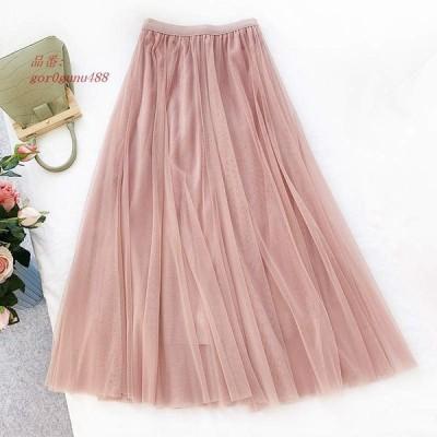 レディース ブラック ピンク ハイウエスト カジュアル ロングスカート ネイビー グレー ウエストゴム ボトムス チュールスカート フリーサイズ