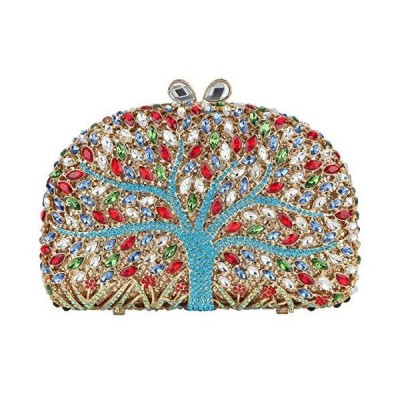 Fawziya Wishing Tree Pattern Bling Clutch Purse Rhinestone Crystal Clutch Bag-Blue