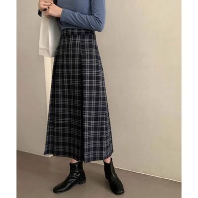 スカート チェック柄タックロングスカート