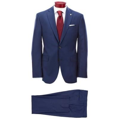 クレミュ メンズ ジャケット&ブルゾン アウター Modern Fit Flat Front Neat Blue Wool Suit Navy