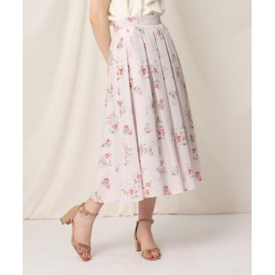 【クチュールブローチ】 ローズプリントフレアスカート レディース ベビーピンク 36(S) Couture Brooch