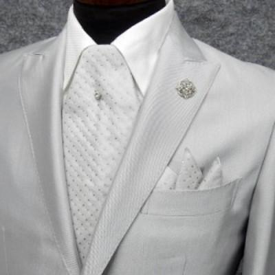 ◆礼装◆アスコットタイ ユーロタイ ライトシルバー系/ドット タイピン&チーフ付き シルク100% 日本製 メール便可 act-RG02