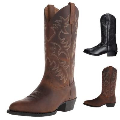 Aofu靴業界刺繍ハイヒールメンズ木製ブーツヨーロッパとアメリカンスタイルのウエスタンカウボーイブーツ冬サイズ38-48