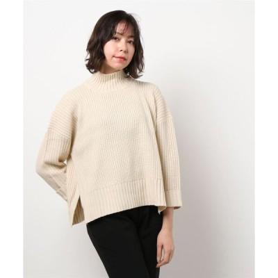 ニット 【福田麻琴さんオススメ】タック編み抜け感ハイネックプルオーバー