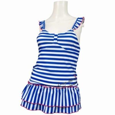 女の子ジュニアボーダー柄ワンピース水着 ブルー-ホワイト 140cm/150cm/160cm
