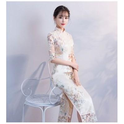 [レディース]ロング チャイナドレス :ワンピース 刺繍 大きい 大きめサイズ セクシー キャバドレス パーディー 二次会