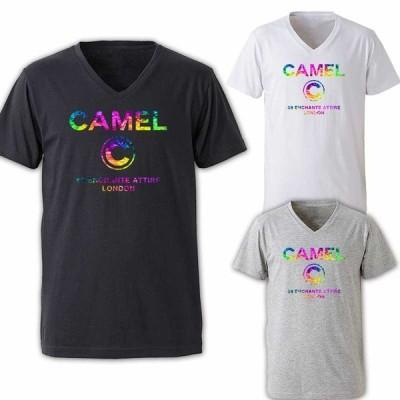 Tシャツ メンズ Vネック パロディ ブランド 半袖 ロゴ