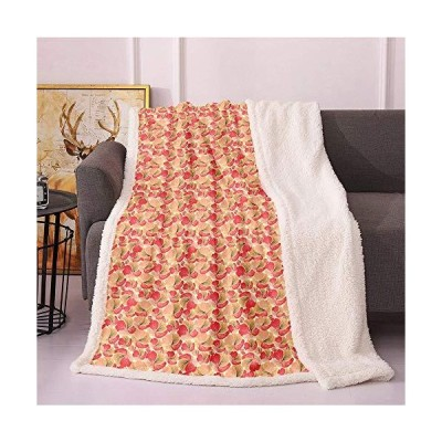 SeptSonne Vintage Sherpa Blankets,Floral Theme Abstract Fantasy Wrapping Flower Texture Image Lightweight Fluffy Flannel,Coverlet Fuzzy Blan