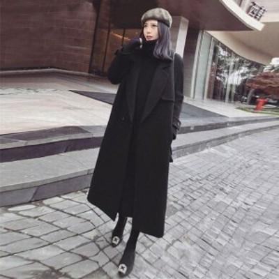 ガウンコート アウター マキシ丈 ブラック ロング チェスター コート