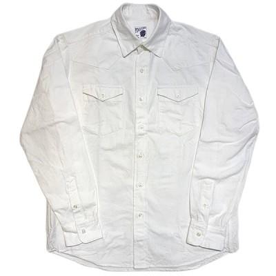 パインコーン PINECONE / ヘビーシャンブレー ウェスタンシャツ L/S 長袖 日本製 / CHAMBRAY WESTERN SHIRT (ホワイト)