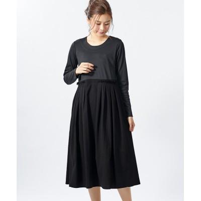 大きいサイズ 異素材ドッキングワンピース(オトナスマイル) ,スマイルランド, ワンピース, plus size dress