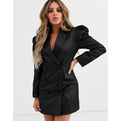 エイソス レディース ジャケット・ブルゾン アウター ASOS DESIGN exaggerated sleeve double breasted blazer Black