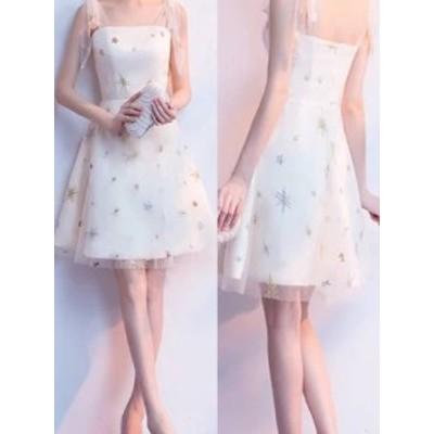 パーティードレス 結婚式 二次会 お呼ばれ お呼ばれドレス ドレス 20代 星柄 スター 星 シースルー リボン ミニドレス