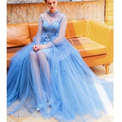 プリンセス 編み上げ ベール 透ける スピーカースリーブ Vネック 羽飾り バックレス パーティードレス ロング丈 大きいサイズ 披露宴 結婚式 20代30代40代
