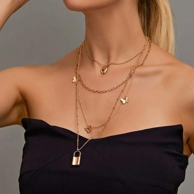 Fnio ファッション 多層チョーカー ネックレス 素敵な黄金の蝶 ネックレス  レディース 鎖骨 チェーン 2020 夏ロマンチックな ジ