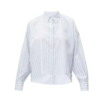 イザベル マラン Isabel Marant レディース ブラウス・シャツ トップス Macao striped slubbed cotton-poplin shirt Light blue