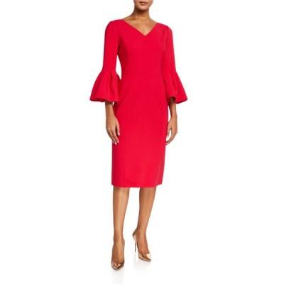 キャロライナヘレラ レディース ワンピース トップス Open V-Neck Bell-Sleeve Dress