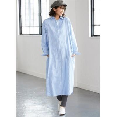 【大きいサイズ】 伸びる綿混オックスフォードシャツワンピース ワンピース, plus size dress