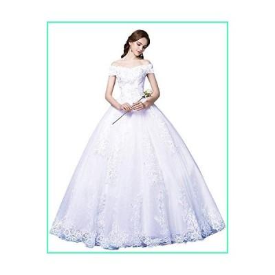 Princess Off The Shoulder Wedding Dresses Bridal Ball Gown 2019 Lace Applique Wedding Dresses for Bride 2020 White B 22並行輸入品