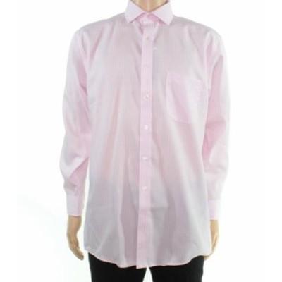 ファッション ドレス Tasso Elba Mens Dress Shirt Pink Size 17 Stripe Print Regular Fit