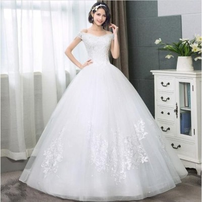オフショルダー ロング丈ワンピース 綺麗 結婚式 花嫁 パーティードレス プリンセスライン ウエディングドレス ブライダル 素敵 ワンピース 大きいサイズ 冠婚