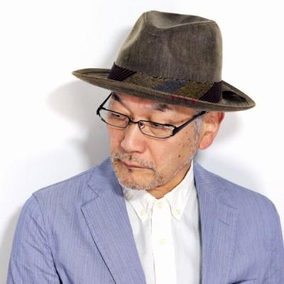 中折れハット メンズ ワイドブリム カルロス サンタナ ハット メンズ ワックスコットン CARLOS SANTANA ハット 帽子 メンズ 帽子 春夏 茶 ブラウン 父の日