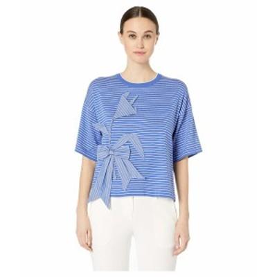 ブティックモスキーノ レディース ニット&セーター アウター Short Sleeve Applique Striped Crew Neck Sweater Blue