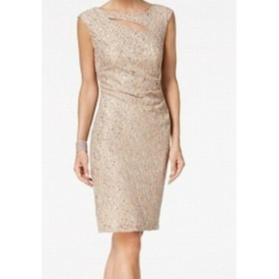 Sequin  ファッション ドレス Connected Apparel NEW Beige Lace Sequin Cutout 10 Gathered Sheath Dress