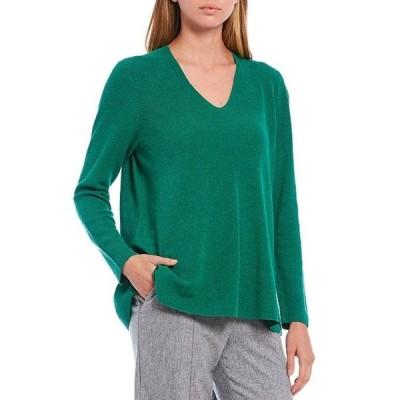 エイリーンフィッシャー レディース パーカー・スウェット アウター Organic Linen Crepe Stretch V-Neck Long Sleeve Sweater