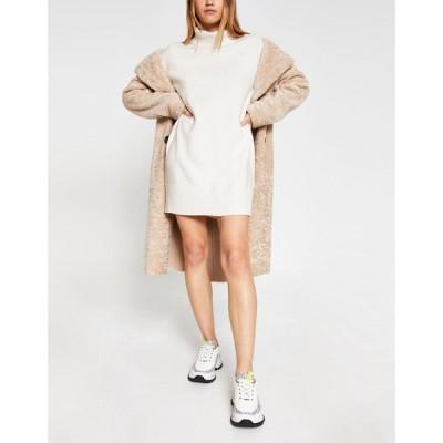 リバーアイランド River Island レディース ワンピース ミニ丈 ワンピース・ドレス cosy roll neck mini jumper dress in white アイボリー