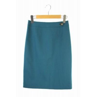 【中古】ビアッジョブルー Viaggio Blu スカート 膝丈 タイト ウール 1 緑 グリーン /ES ■OS レディース