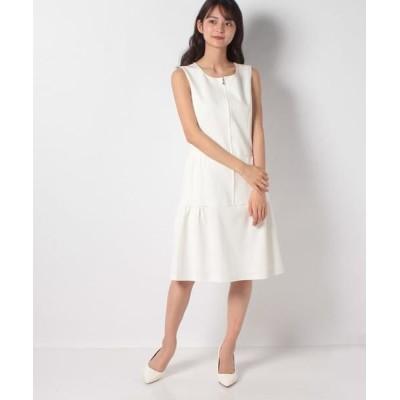 MISS J/ミス ジェイ ストレッチデニム ティアードドレス ホワイト 38