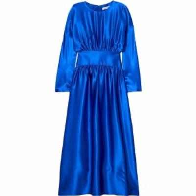 デイタース DEITAS レディース ワンピース マキシ丈 ワンピース・ドレス hermine gathered silk-satin maxi dress Bright blue