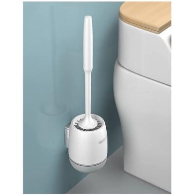 トイレのブラシとホルダー、長持ちのシリコーン剛毛、浴室の清掃用のコンパクトなトイレのブラシ (Color : グレー, サイズ : Type b)