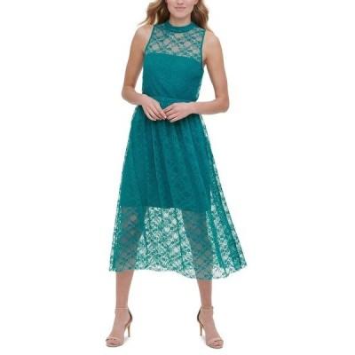 ケンジー ワンピース トップス レディース Sleeveless Lace Midi Dress Green