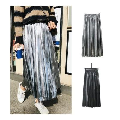 全2色 スカート プリーツ フリル スリム 無地 シンプル カジュアル