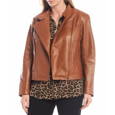 マイケルコース レディース ジャケット・ブルゾン アウター Plus Size Genuine Leather Moto Jacket Luggage
