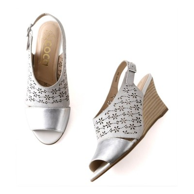 ANDEX shoes product / coca / コカ 小花柄レーザーカット ウエッジヒール オープントゥ サンダル 121010 WOMEN シューズ > サンダル