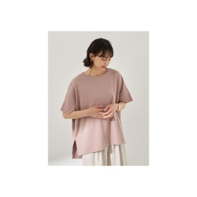 アースミュージックアンドエコロジー earth music&ecology スムースポンチョ風Tシャツ (Pink)