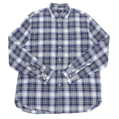 エルエルビーン L.L.Bean コットン チェック柄 長袖 シャツ メンズ ブルー系 sizeL A04046