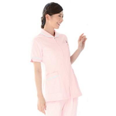 KAZENKAZEN レディスジャケット半袖 (ナースジャケット) 医療白衣 ピンク×ホワイト S 101-24(直送品)