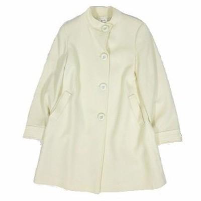 【中古】エスピービー SPB スタンドカラー コート ジャケット ウール アウター サイズL 白 ホワイト  レディース