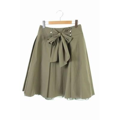【中古】エムズグレイシー M'S GRACY フレアリボンスカート ひざ丈 38 緑 カーキ /KN ■OS レディース 【ベクトル 古着】