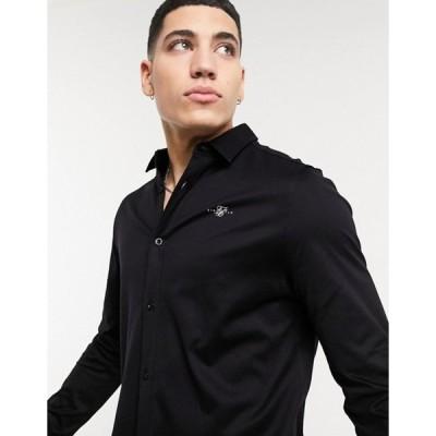 シックシルク メンズ シャツ トップス SikSilk long sleeve cotton button down shirt in black