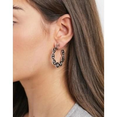 エイソス レディース ピアス・イヤリング アクセサリー ASOS DESIGN hoop earrings in tab link in silver tone Rhodium