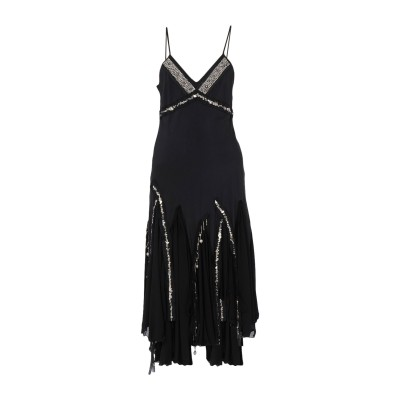 .AMEN. 7分丈ワンピース・ドレス ブラック 42 シルク 100% 7分丈ワンピース・ドレス
