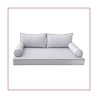 DBM IMPORTS Style2 5PC Contrast Pipe Outdoor Daybed Mattress Cushion Bolster Pillow Complete Set-Twin-XL Size AD105【並行輸入品】