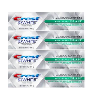 【1+1+1+1】【 安心米国製】米国で大人気のホワイトニング歯磨き粉 Crest 3D クレスト 3Dホワイト Brilliance BLAST ホワイトニング歯磨き粉 116g X 4