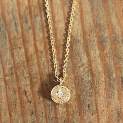 ネックレス レディース ダイヤモンド 一粒ダイヤ k18 18金 18k k10 ゴールド  One Diamond Star Necklace